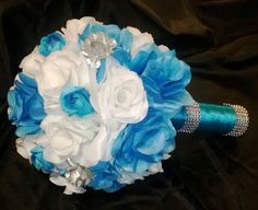 Turquoise Roses White Roses with Silver by SilkFlowersByJean, $65.00