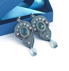 Bead embroidery Earrings with Labradorite-Beadwork jewelry with natural stones-Mystery