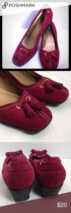 "Raspberry suede wedge heels Pretty Fall color suede 1.25"" wedge heels in good condition with tassels. There's a slight mark on the side toe on one of the shoes, not bad at all!!! Please view the picture Talbots Shoes Wedges"