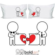 "BOLDLOFT ""Made for Each Other"" Gay Couple Pillowcases-Gay Gifts,Valentine's Day Gifts for Gays,Gay Wedding Gifts"