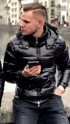 Men's Jackets For Every Occasion. Photo by Menswear Market Jackets are a must-have in the cold weather but it can also be used to accessorize an outfit. Nylons, Mens Down Jacket, Pvc Raincoat, Black Down, Puffy Jacket, Mens Fitness, Leather Men, Boy Outfits, Beautiful Men