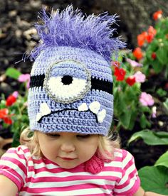 Bad Purple Minion Crochet Hat Despicable Me 2 movie, Newborn, 3-6 m, 6-12m, 1-2T, 2t and up, and Adult, Halloween costume on Etsy, $25.00