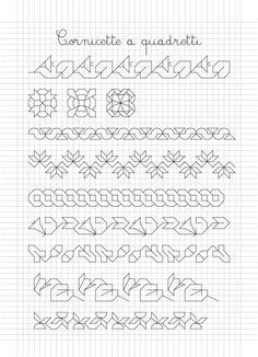 . Blackwork Patterns, Blackwork Embroidery, Zentangle Patterns, Cross Stitch Embroidery, Embroidery Patterns, Cross Stitch Borders, Cross Stitch Designs, Cross Stitch Patterns, Graph Paper Drawings