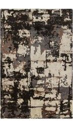 Abstract Rug in Dark Grey, Espresso Brown and Beige