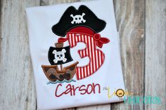 Pirate Birthday Shirt Number can be changed by thelionandunicorn on Etsy https://www.etsy.com/listing/158179997/pirate-birthday-shirt-number-can-be