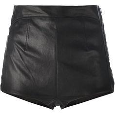 La Perla Leisuring High-Waisted Shorts ($1,632) ❤ liked on Polyvore featuring shorts, black, la perla, leather shorts, highwaist shorts, high waisted leather shorts and high rise shorts