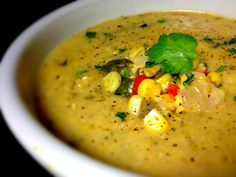 Spicy Vegan Corn Chowder with Coconut Cream, Cilantro & Lime