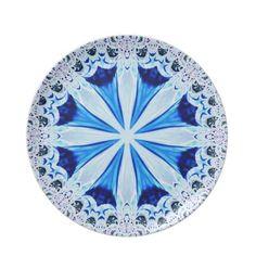 Blue White Fractal Lace Plate