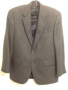 Ralph Lauren Mens 42R Black/Grey 2 Button  Wool Tweed Jacket Blazer Suit #LaurenRalphLauren #TwoButton