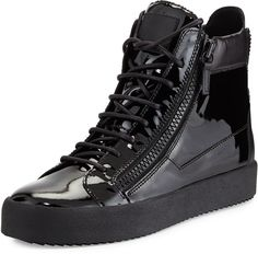 Giuseppe Zanotti Men's Patent Leather High-Top Sneaker, Black