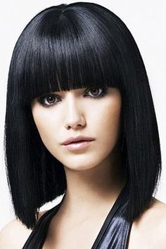 Medium Straight Black Wave Synthetic Wig With Full Bang For Women Synthetic Wigs   RoseGal.com Mobile