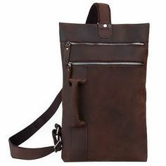 This simple and compact leather bags could be wear over shoulder or hand tote, perfect for cycling, street, school.  It feature with two front zipper compartment and a back zipper pocket. Fit for ipad.  Leather handle and a single leather and webbing shoulder strap.  Size: W25cm, H42CM,D4CM...