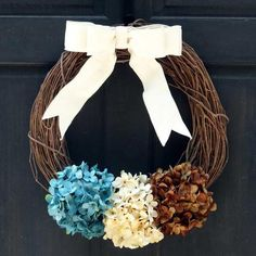 Summer Grapevine Wreath, Autumn Door Hanger, Fall Front Door Decoration with Blue Cream & Brown Hydrangeas