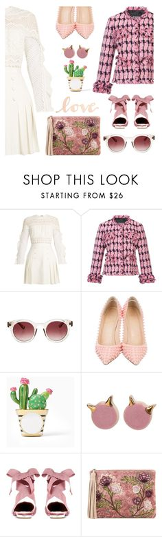 """""""Pink love"""" by pensivepeacock ❤ liked on Polyvore featuring self-portrait, Boutique Moschino, Christian Louboutin, Kate Spade, Aquazzura, Sam Edelman and Primitives By Kathy"""