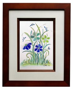 Sea Glass Flowers and Dragonfly's 8x10 Frame by RachelDrakeStudio, $68.00