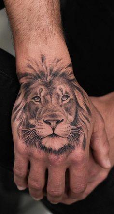 Tiger Hand Tattoo, Lion Hand Tattoo Men, Small Lion Tattoo, Lion Forearm Tattoos, Lion Tattoo Sleeves, Lion Head Tattoos, Hand Tats, Hand Tattoos For Guys, Best Sleeve Tattoos