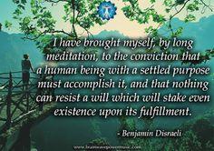 """A human being with a settled purpose must accomplish it..."" - Benjamin Disraeli #quote #meditation #life #fulfillment #accomplish #goals #dreams #action #wisdom #insight #motivation #inspiration #human #purpose #holistic #energy #thankful #success #greatsuccess #successquotes #selfhelp #lifequotes #makeachange #morninginspiration"