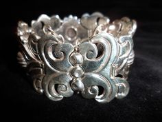 Vintage 1940's Signed Hector Aguilar Bracelet Taxco Mexico .940 Sterling Silver