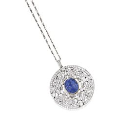 PLATINUM, GOLD, SAPPHIRE AND DIAMOND PENDANT Centering an oval-shaped sapphire weighing 13.50 carats, within garland surrounds set with round and old European-cut diamonds weighing approximately 3.70 carats, suspended from a fancy link chain, chain length 14½  inches.