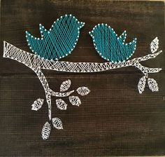 Spring birds string art blue wall decor wood