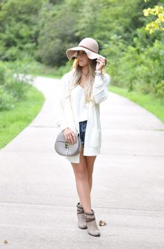 fall neutrals, neutral fall fashion, white cardigan, cream cardigan, the perfect white camisole, blush floppy hat, fall booties, chloe purse, fall fashion, fall outfit ideas, fall outfit inspo