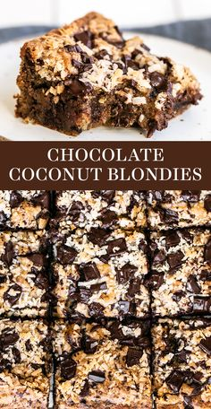 Chocolate Chip Coconut Blondies are crazy thick, chewy, gooey, and loaded with gooey chocolate chunks and coconut. This easy bar recipe takes just minutes to prepare! The BEST! Coconut Desserts, Coconut Recipes, Chocolate Desserts, Chocolate Coconut Bars, Coconut Brownies, Baking Recipes, Best Dessert Recipes, Easy Desserts, Delicious Desserts