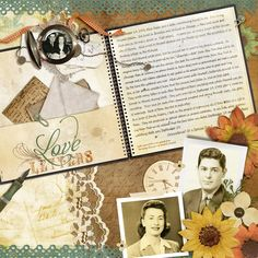Love Letters...great use of heritage journaling and ephemera.