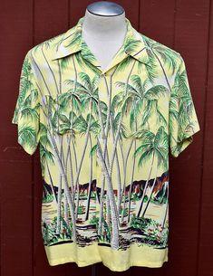 d696030903223e Late 1940s   Early 1950s Yellow Rayon Duke Kahanamoku From Here To Eternity  Border Print Hawaiian   Aloha Shirt XL Montgomery Clift