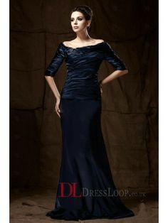 Pleated Bodice Chiffon Mermaid Off-The-Shoulder Sweep Train Blue Evening Dress TBED0020