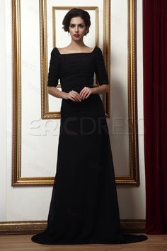 Graceful Square Neckline Short-sleeves Sweep/Brush Train Taline's Mother Of The Bride Dress 1