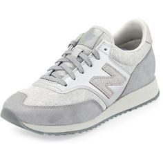 New Balance 620 Suede & Woven Trainer ($89) ❤ liked on Polyvore featuring shoes, sneakers, flats, zapatillas, zapatos, grey, shoes sneakers, gray flats, grey flats and grey suede sneakers