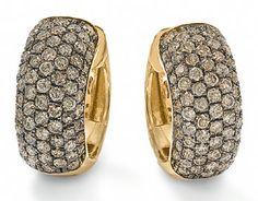 Brown diamond pave hoops with black rhodium Black Rhodium, Rihanna, Forget, Diamond, Brown, Jewelry, Jewlery, Bijoux, Schmuck
