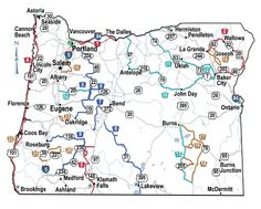 Map showing locations of scenic byways