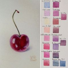 My cherry on vellum with colourchart - getting ready for the London demos! Having a colourchart helps explain the process.