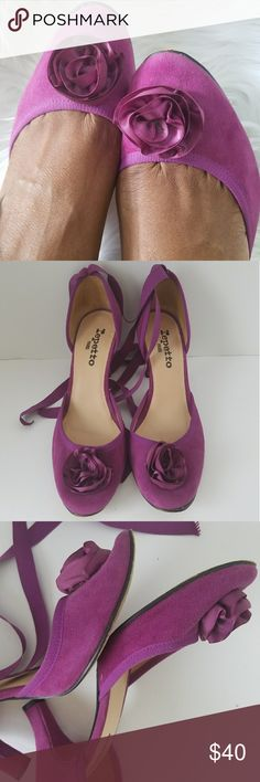 Repetto magenta suede ribbon tie heels Round toe pumps with satin ribbon and flower detail. Made in France. Good used condition. No tears or discoloration. Repetto Shoes Heels