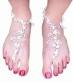 Amazon.com: Weddings are Fun Womens Foot Lace Barefoot Sandals - Pearls & Rhinestones - Sold in Pairs: Shoes $69.00