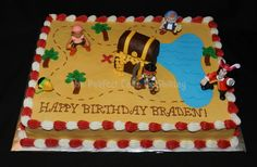 Jake and the Neverland Pirates - Jake and the Neverland Pirates sheet cake. Iced in buttercream, treasure chest made from rice krispie treats, gold is fondant, figures are plastic. LOVE the alternating red and white