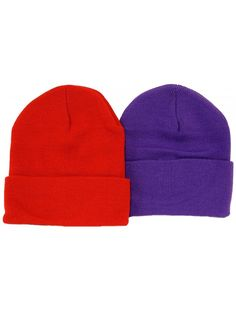 Great Deals! 2 Pack Beanies   1 Red 1 Purple   Red Hat Ladies - CM113ZM4YJP c4ad8576eb13