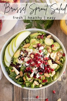 This quick and easy brussel sprout salad recipe is anything but boring! It's loaded with nutrient packed ingredients that make a delciously healthy and crunchy appetizer, snack or side dish. I also love this recipe for meal prep as it saves very well in the fridge! Side Salad Recipes, Healthy Salad Recipes, Side Dish Recipes, Pork Recipes, Vegetarian Recipes, Side Dishes, Sprouts Salad, Clean Eating Salads, Vegetarische Rezepte