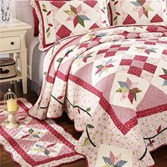 AmazonSmile: Newrara Fine Cotton Washable American Country Style Patchwork Quilt Bedspread Bed Coverlets Cover Set Queen Size 3pcs (3PCS, Red): Home & Kitchen