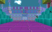 Happy Town is a psychedelic looking area within the dream world consisting of colorful floating blocks, geometric shapes, and cartoon-like faces covering the walls and floor. Throughout the area, there are many abstract shapes and strange looking monuments. Many of these things have a tendency to lean towards an upper/downer dream, and several are specifically linked to other areas, either within Happy Town itself, the Violence District, or Kyoto. A train track can also be seen, complete...