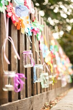 Jam Jars With Tea Lights Hang some jam jars filled with tea lights to add a little something special to your party.i have a ton of small Mason Jars we could hang from the fence! Birthday Celebration, Birthday Parties, Birthday Bbq, 16th Birthday, Birthday Ideas, Fancy Fence, Diy Party Decorations, Fence Decorations, Creative Decor