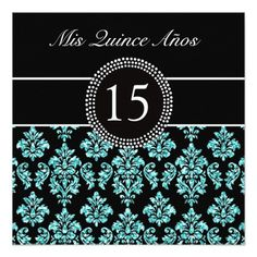 TEAL GLITTER EFFECT BLACK DAMASK QUINCEANERA 5.25X5.25 SQUARE PAPER INVITATION CARD
