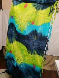 BUY IT NOW! ALWAYS FREE SHIPPING! Tie Dye Hippie Shawl Sarong Beach Wrap Fringe Ends Rich Colors  | eBay