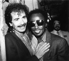 Carlos Santana and Miles Davis. Iconic.
