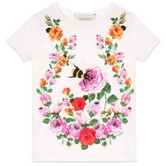 Gucci Children'S Flowers And Bees T-Shirt ($110) ❤ liked on Polyvore featuring tops, t-shirts, children, clothing 4-12 yrs, girls, short sleeve tee, flower t shirt, gucci, white t shirt and bumblebee t shirt