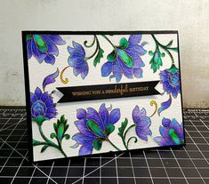 Altenew stamps, Papertrey Ink sentiment, watercolored with Zig Clean Color real brush markers and gold embossing powder. Cobalt blue, violet, light blue and lilac for the flowers. Green, blue, light blue and do light green for the leaves | by ascritch13