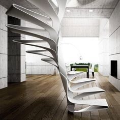 Steps of this conceptual spiral staircase are formed by folds of fibreglass.