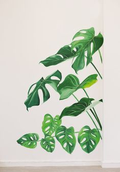 Simple Wall Paintings, Wall Painting Decor, Plant Painting, Large Painting, House Painting, Art Mural, Wall Murals, Wall Art, Images Pop Art