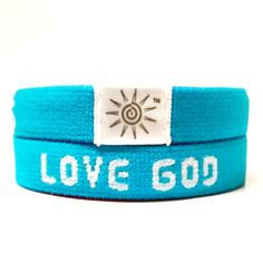 """Blue """"Love God Love Others"""" Bright Elastic Wrist Band - They fit so comfortable on your wrist!"""